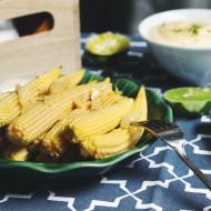 Мини-кукуруза с чесноком и домашним майонезом